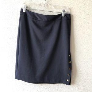 Premise Studio Navy Knit Button Side Skirt Sz 8